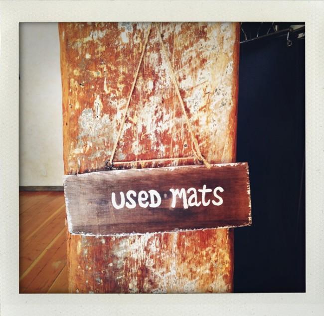 used mat sign at kula yoga