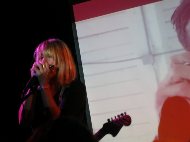 Kim Gordon breaks out the harmonica at last night's Body/Head show in Greenpoint.