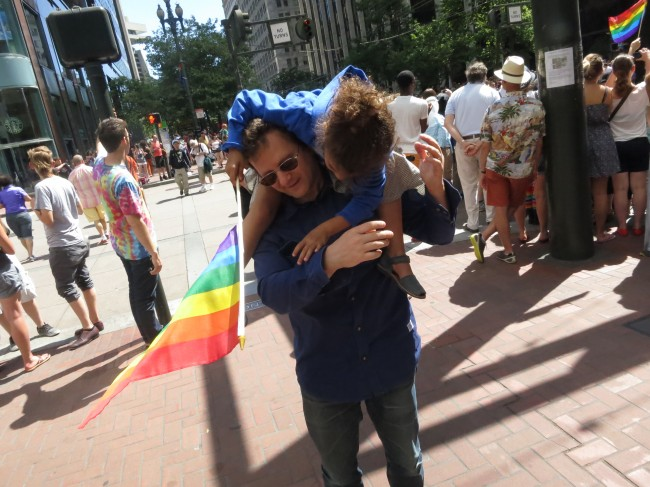 at the gay pride parade in San Francisco.