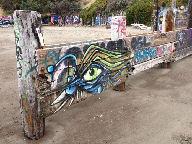 Psychedelic graffiti on the beach in Bolinas.