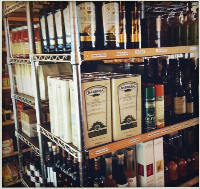 olive oil on the shelves of reddings