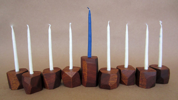 modular wood menorah from etsy