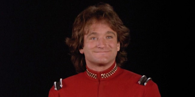 "MORK AND MINDY. Robin Williams as Mork in "" Mork goes Erk"". Original airdate February 8, 1979. Copyright ©1979 CBS Broadcasting Inc. All Rights Reserved. Credit: CBS Photo Archive. Image is a screengrab."