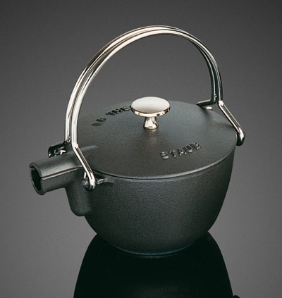 The Staub La Thiere tea pot in black cast iron.