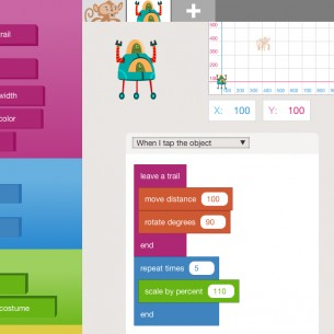 A screenshot of Hopscotch, a programming app for kids.