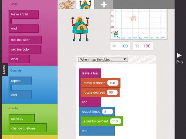 A screenshot of Hopscotch, a programming app for kids. There are videos of Hopscotch in action on YouTube, but the music was so horrible I couldn't bear to have them up here. Sorry...