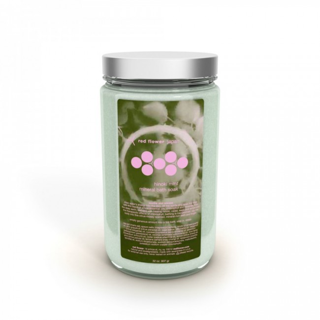 red flower hinoki mint mineral bath