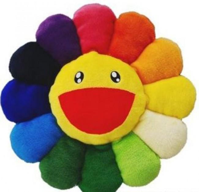 takashi-murakami-flower-pilow-rainbow