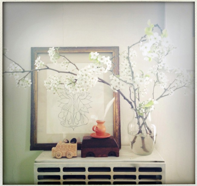 Spring is finally here, and I brought it indoors in the form of a few branches of cherry blossoms. I feel a new sense of possibility after a long slog through the tundra that was this winter...