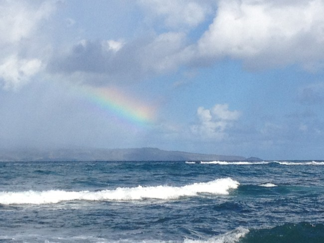 A rainbow over the bay on our last morning in Maui.