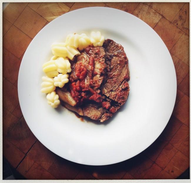 Gourmet's oven braised beef  via smitten kitchen