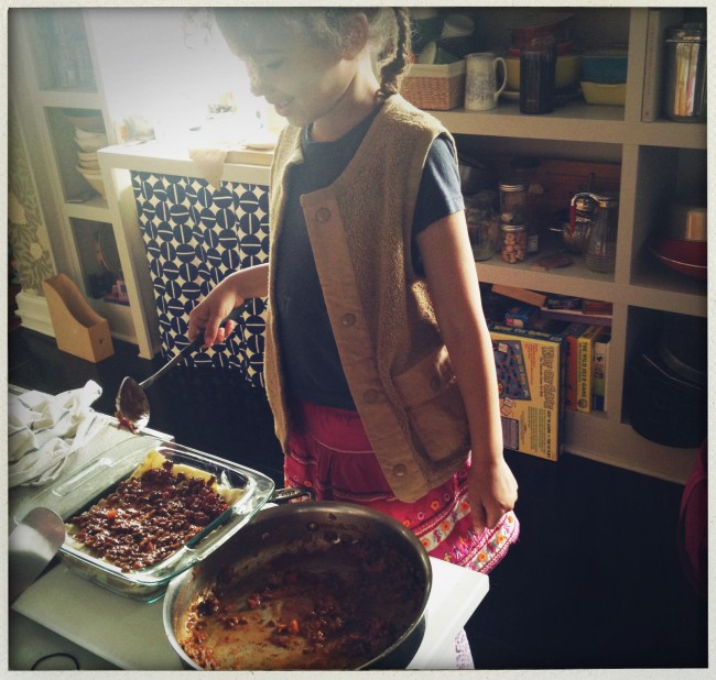 My co-chef, who was not surprisingly very enthusiastic about her job as 'lasagna builder'