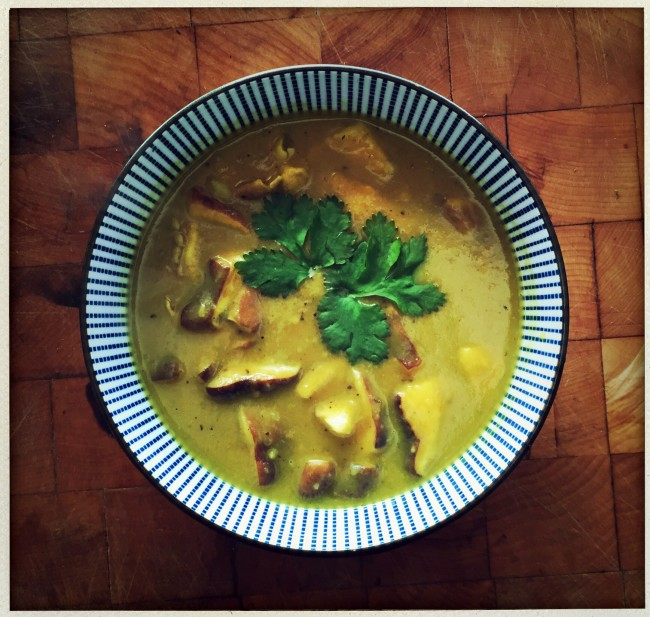Apple coconut curry shiitake soup.