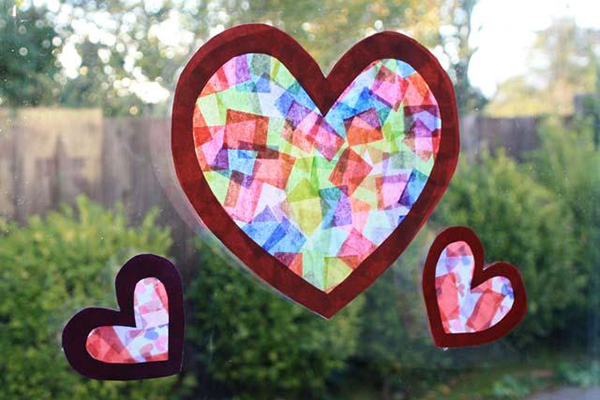 tissue paper sun catcher hearts