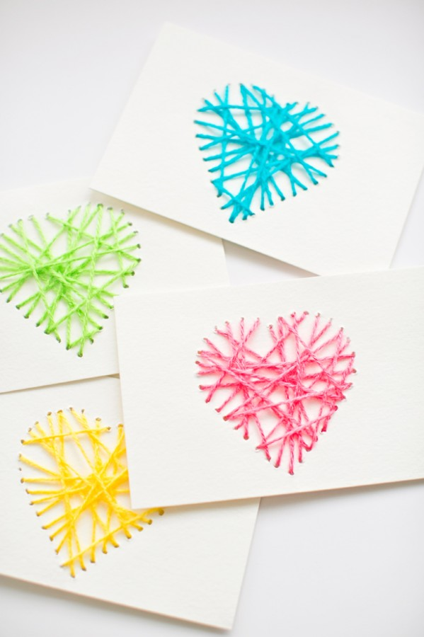 string heart cards